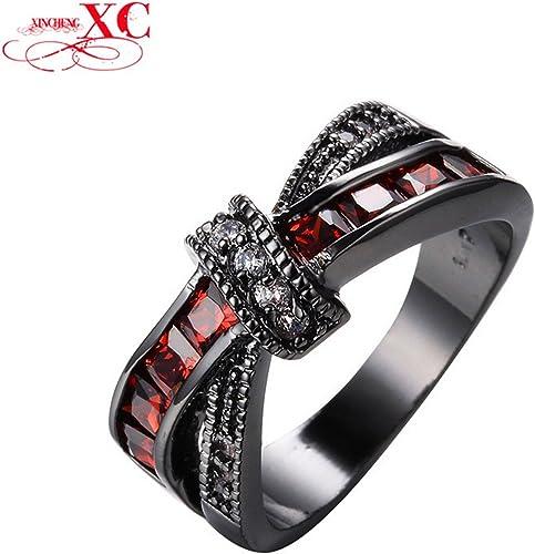 Size 6 Vintage White Zircon Wedding Ring Men//Women/'s 10KT Black Gold Filled