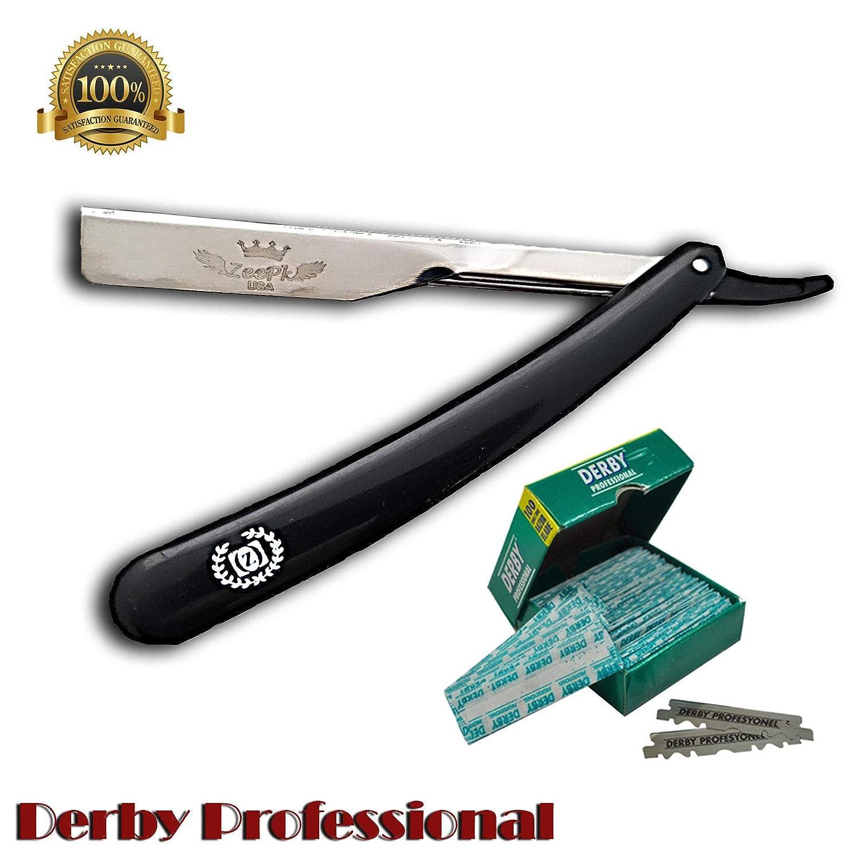 Amazon.com: BARBER RAZOR STRAIGHT + 100 cuchillas derby ...