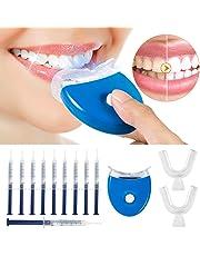 Teeth Whitening Kit Tooth Whitening Set Reusable Home Teeth Whitening Bleaching System Home Whitening Kit with 10 x Teeth Whitening 2 x Dental Trays Gel Kit & Laser Light (Blue)