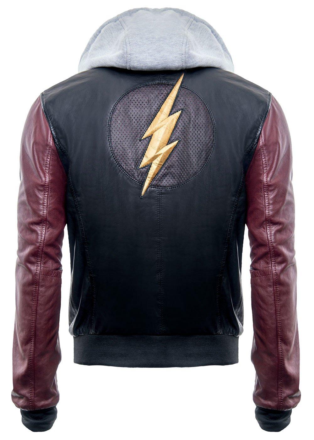 Justice League DC Comics Superhero Flash Hoodie Black Real Leather Mens Jacket (Medium)