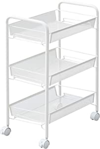 JANE EYRE 3-Tier Rolling Cart, Storage Cart Metal Utility Cart for Bathroom, Kitchen, Office, Storage on Wheels, File Cart, Storage Rack - White