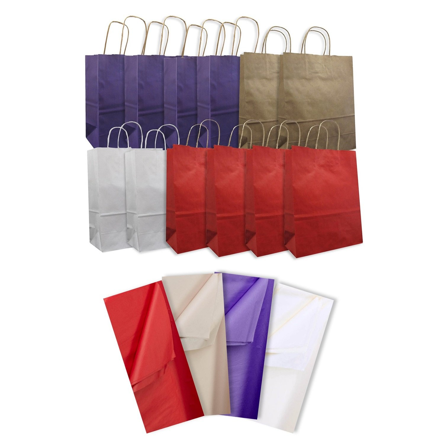 Jillson Roberts 12-Count Large Kraft Bags with Tissue Solid Color Assortment, Purple/Red/Natural/White