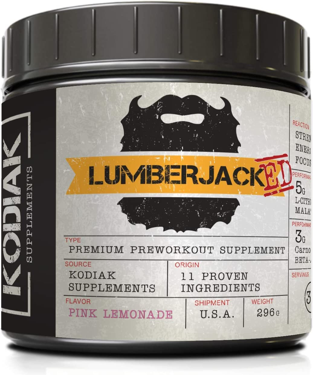 LUMBERJACKED Pre-Workout Supplement with CarnoSyn – 30 Servings – Better Pumps, Strength, Energy, and Focus – No Crash Pink Lemonade