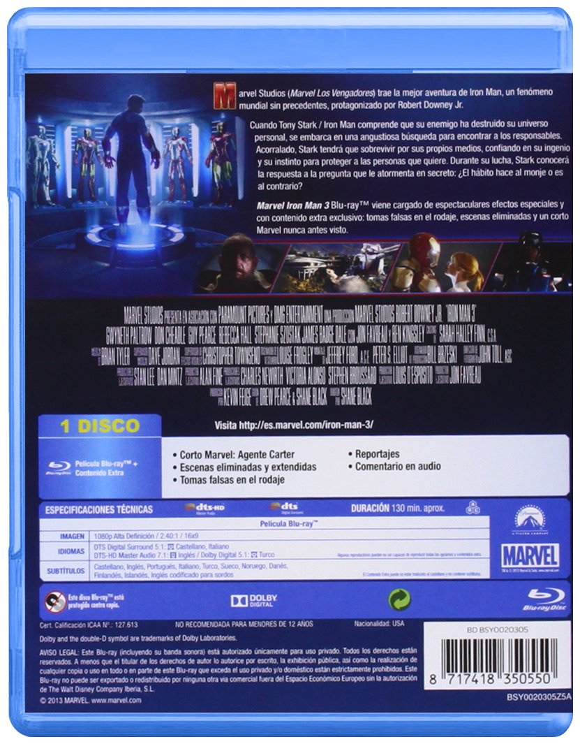 Amazon.com: Iron Man 3 (Blu-Ray) (Import Movie) (European Format - Zone B2) (2013) Robert Downey Jr.; Gwyneth Paltrow; Don: Movies & TV