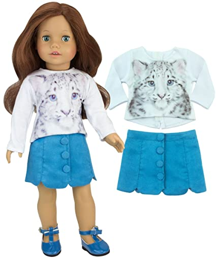 2dcc8cb3c92 Sophias 18 Inch Doll Stylish 2 Pc. Outfit of White Snow Leopard Tee   Teal