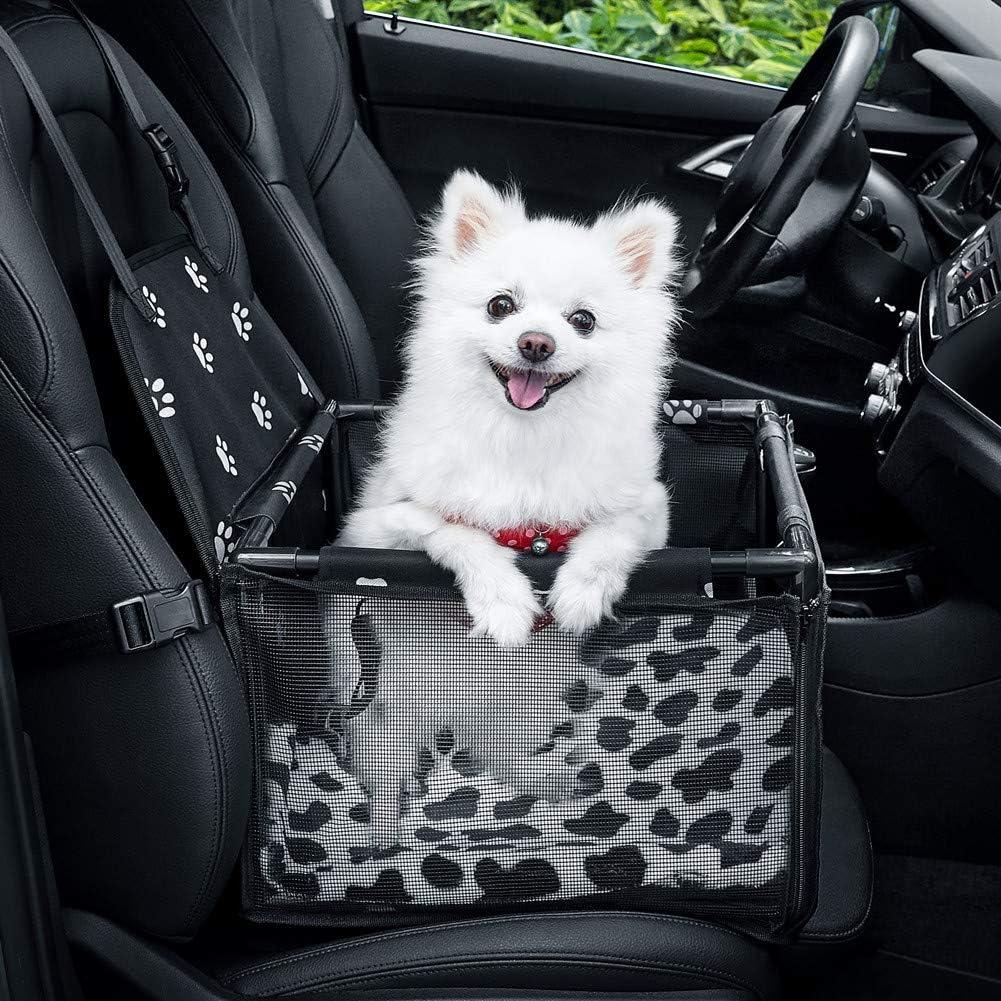 GENORTH Asiento del Coche de Seguridad para Mascotas Perro Gato Plegable Lavable Viaje Bolsas y Otra Mascota Pequeña con Cremallera Bolsillo (Impresión de la Pata Negra): Amazon.es: Coche y moto