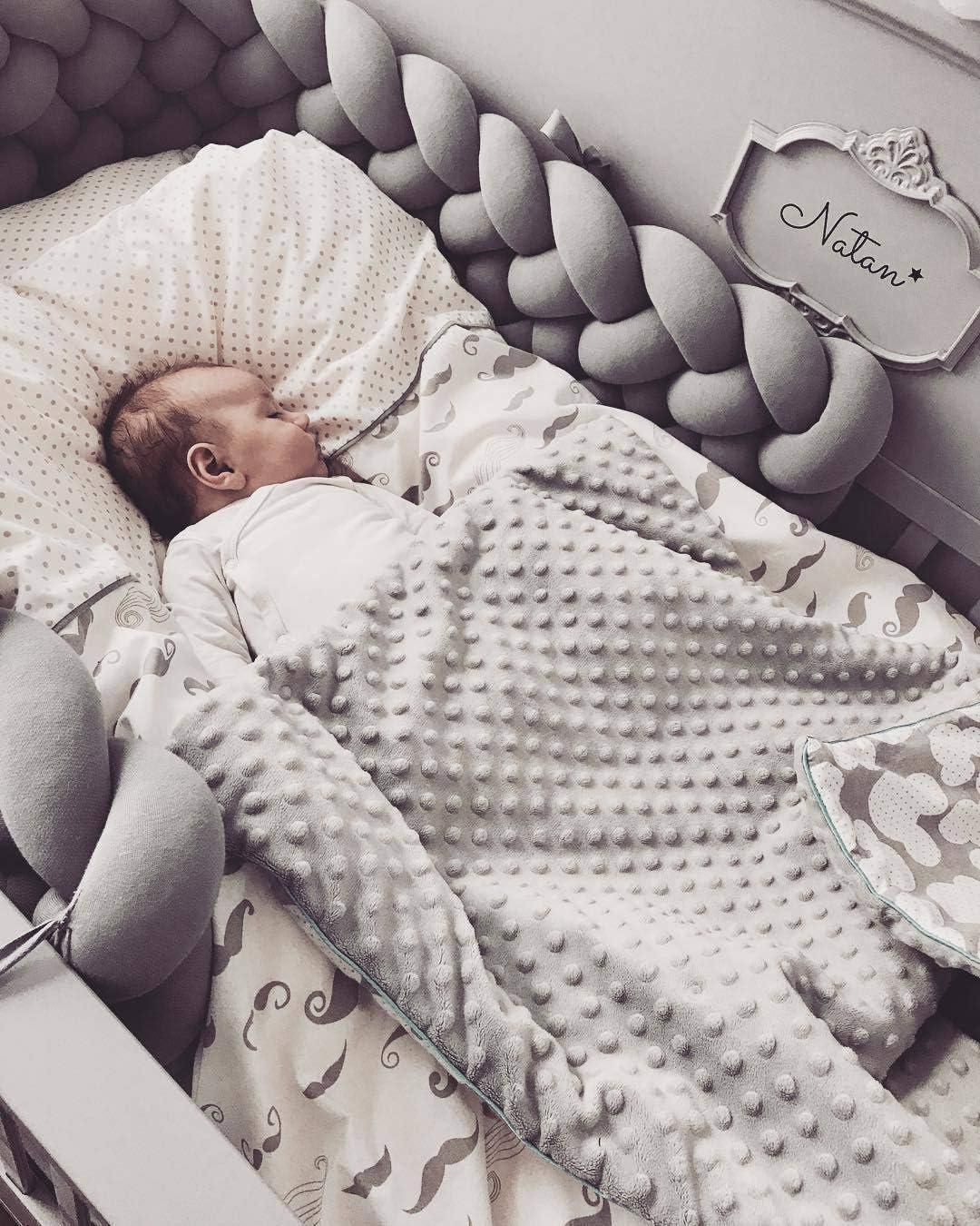 tour de lit bebe fille et les gar/çon coussin serpent b/éb/é gris 220 cm tour de lit tresse