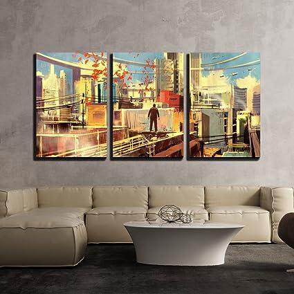Amazon.com: wall26 - 3 Piece Canvas Wall Art - Business Man Standing ...