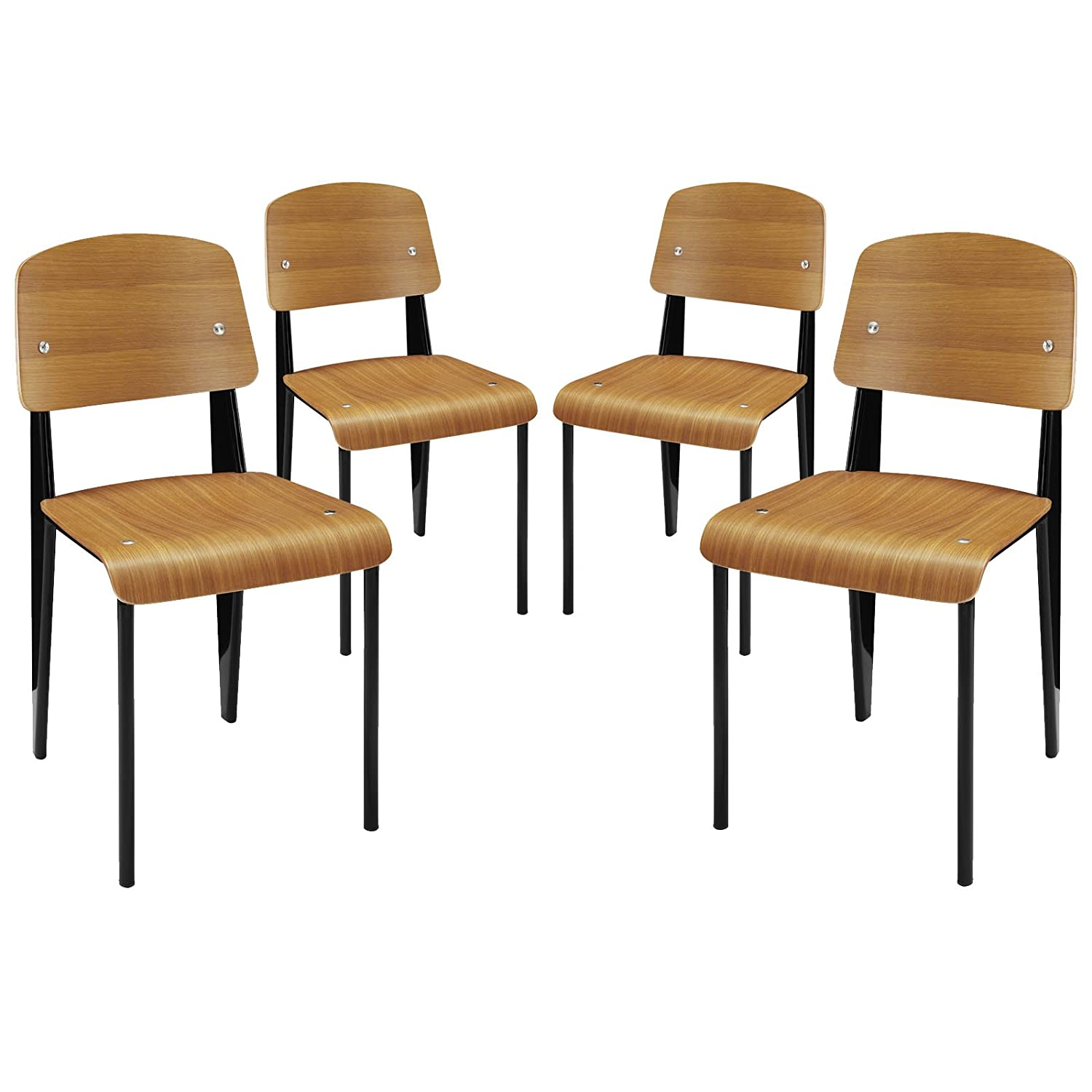 Modway Cabin Modern Dining Side Chairs in Walnut - Set of 4