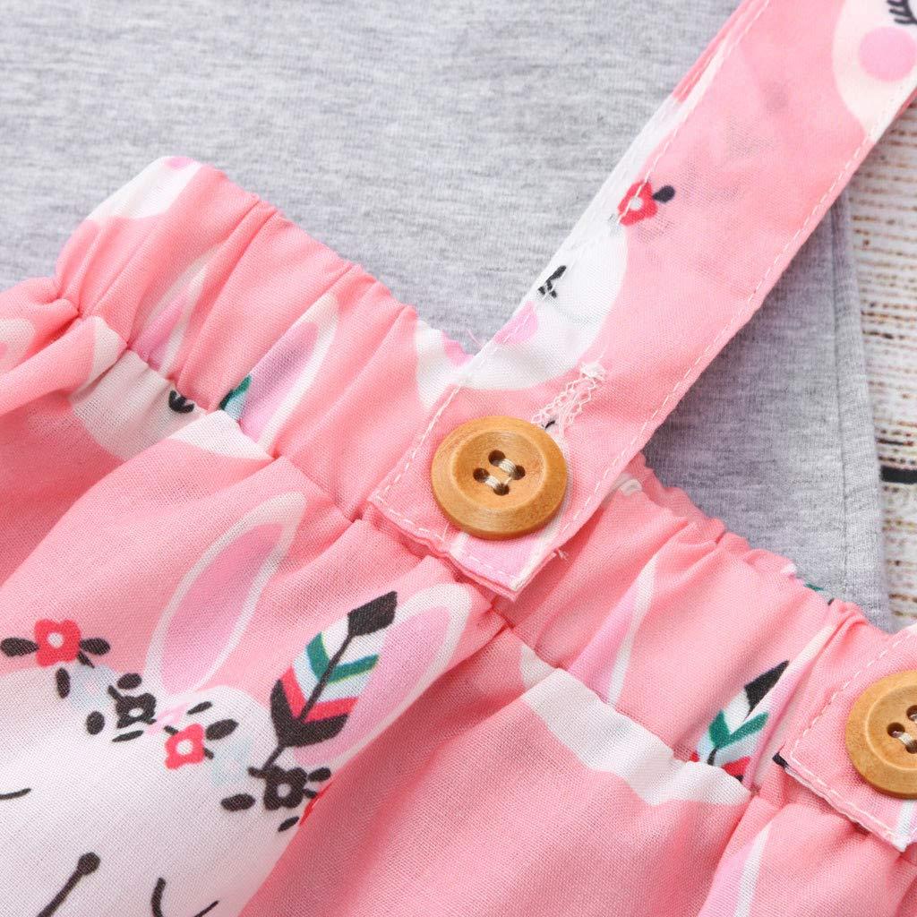 Lefthigh Easter Kids Strap Dress Suit Baby Girl Tops Bunny Suspender T Skirt Overalls Set