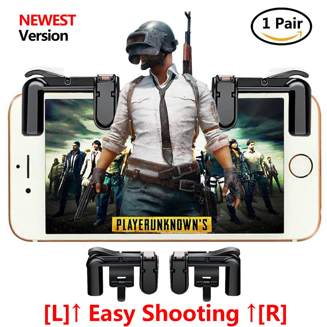 Upgraded Version Mobile Game Controller Hlg Sensitive L1 R1 Sharp Shooter Pubg Joystick Rule Of Survival Versi 3 Shoot And Aim Buttons L1r1 For Fortnite Rules Survial Cell Phone Gams