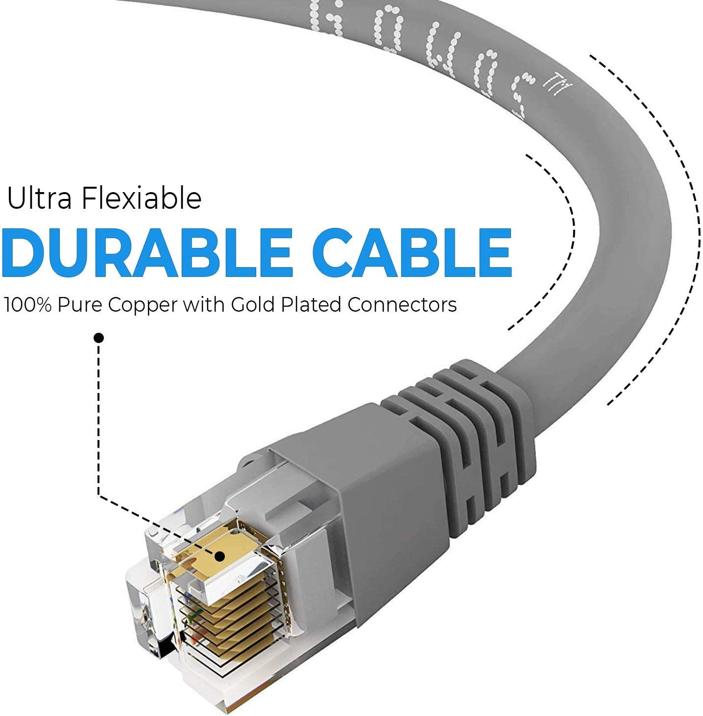 GOWOS 50-Pack Computer Network Cable with Snagless Connector UTP Available in 28 Lengths and 10 Colors 2 Feet - Yellow Cat5e Ethernet Cable RJ45 10Gbps High Speed LAN Internet Patch Cord