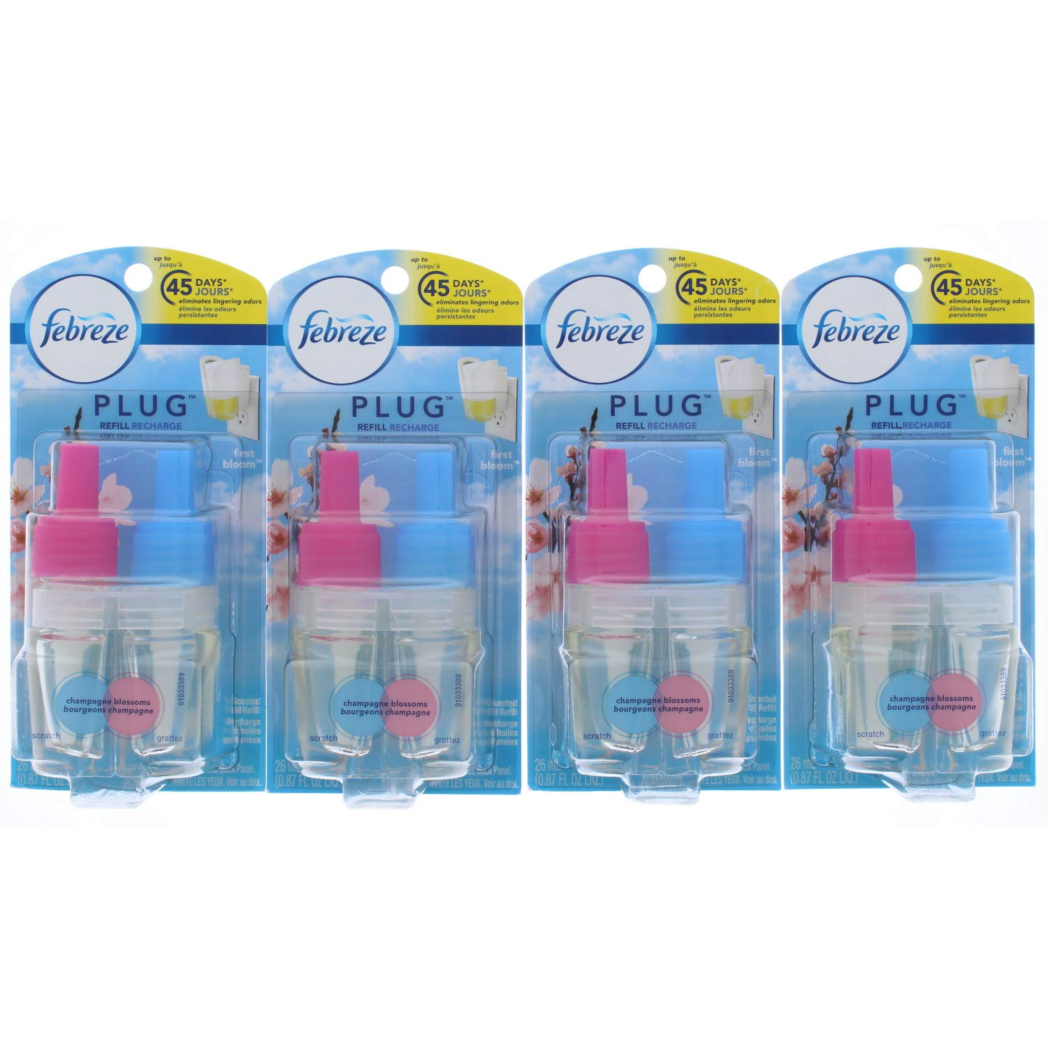 4 Pk. Febreze NOTICEables First Bloom Single Oil Refill Air Freshener (1 Count, 0.87 oz)