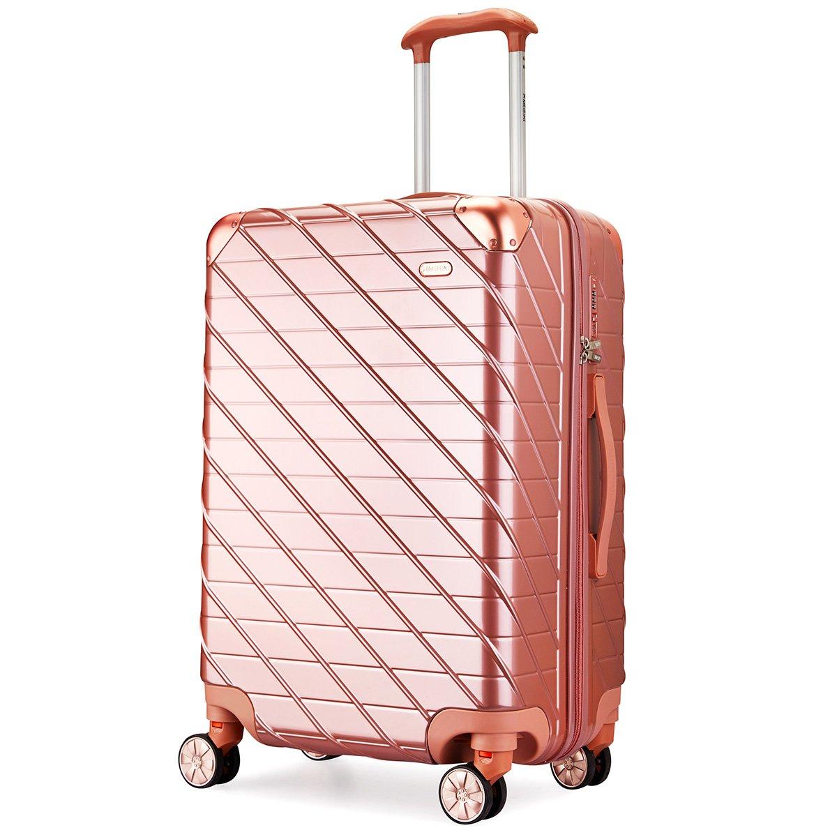 MEISINI スーツケース 旅行バッグ キャリーバッグ キャリーケース TSAロック 機内持込 軽量 ABS+PC 静音 ファスナーレス 8輪キャスター 出張【一年保証】 B07DJ3QJBY Mサイズ( 4~7泊用·62L)|ゴールド ゴールド Mサイズ( 4~7泊用·62L)
