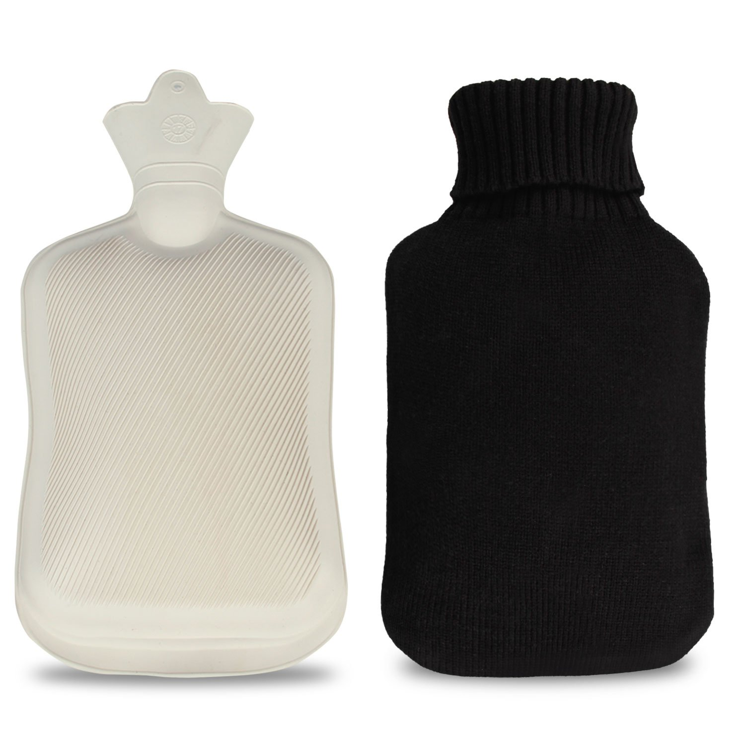 Infreecs Hot Water Bottle with Knitted Removable Cover 2L - Black