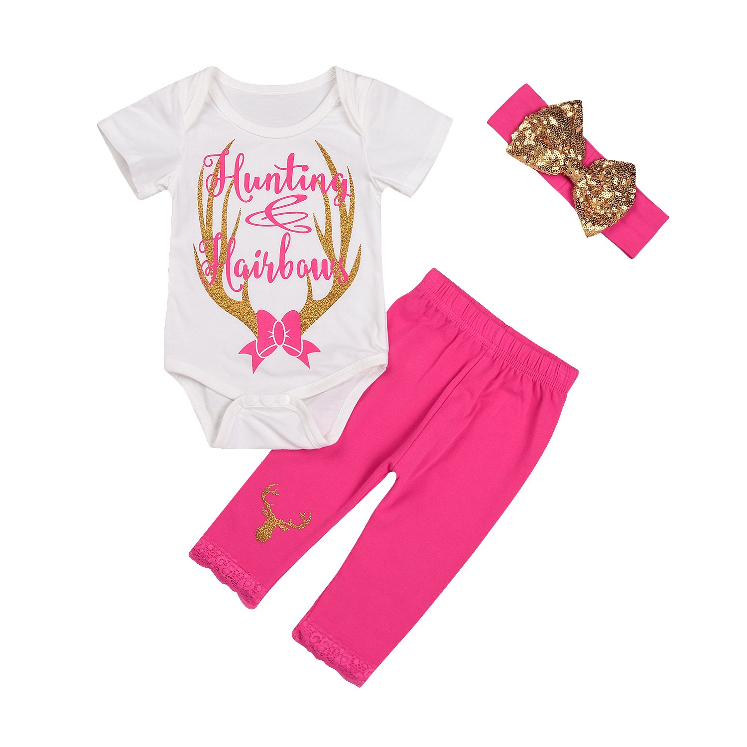 Imcute Baby Girls Deer Print White Romper+Long Pants+Headband 3Pcs Outfit Clothes Set