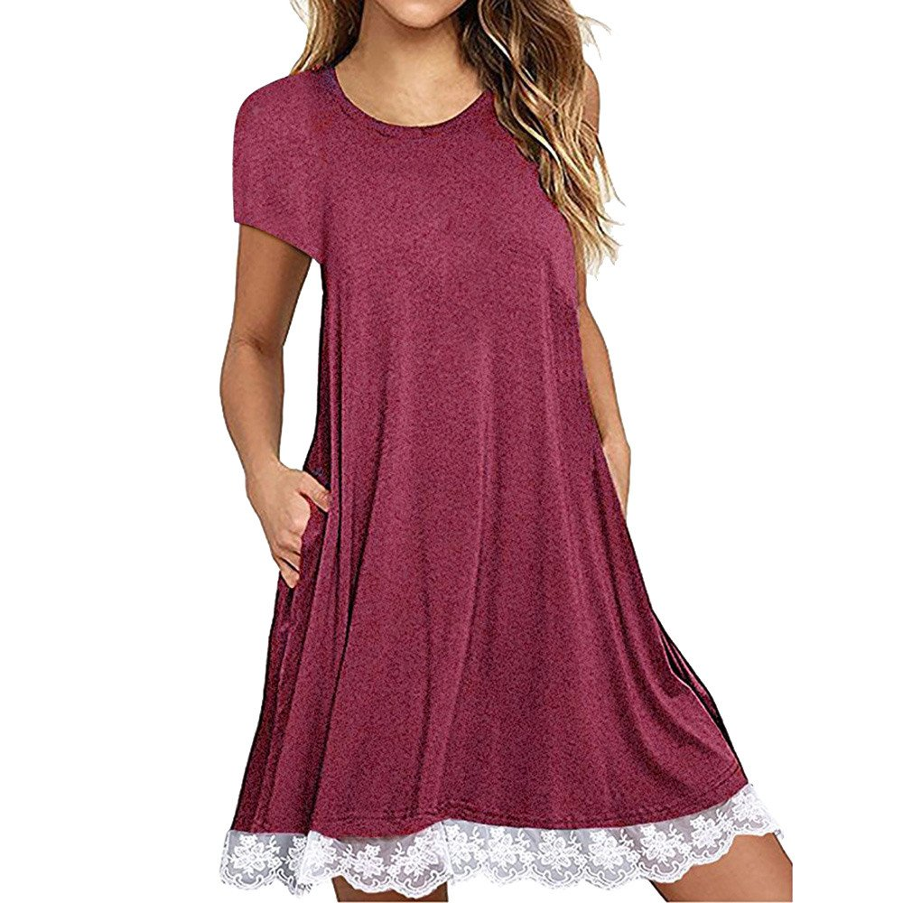 KYLEON Women T-Shirt Dress with Pockets Short Sleeves Lady Pleated Loose Swing Lace Casual Plain Summer Beach Sundress Red