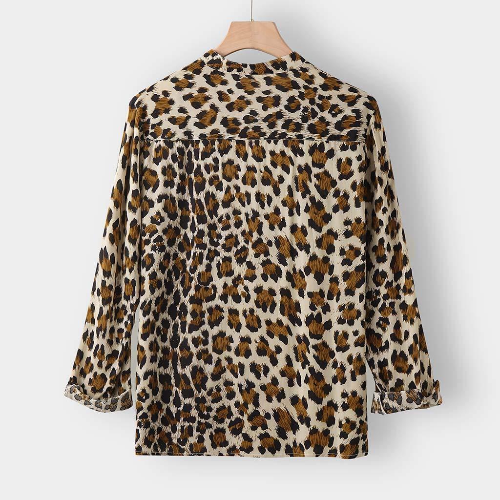 DDLmax Men Vintage Leopard Print Button Down Long Sleeve Cotton Casual Shirt