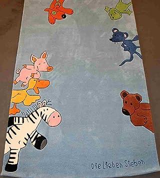 Kinderteppich die lieben sieben  Ls-2195-01 Teppich Die Lieben Sieben blau 110x170: Amazon.de: Baby