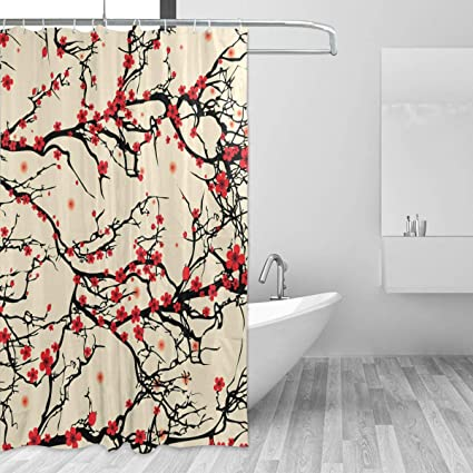WIHVE Shower Curtain Custom Fabric Set 72x72 Inch Japanese Style Cherry Blossom Waterproof Polyester For