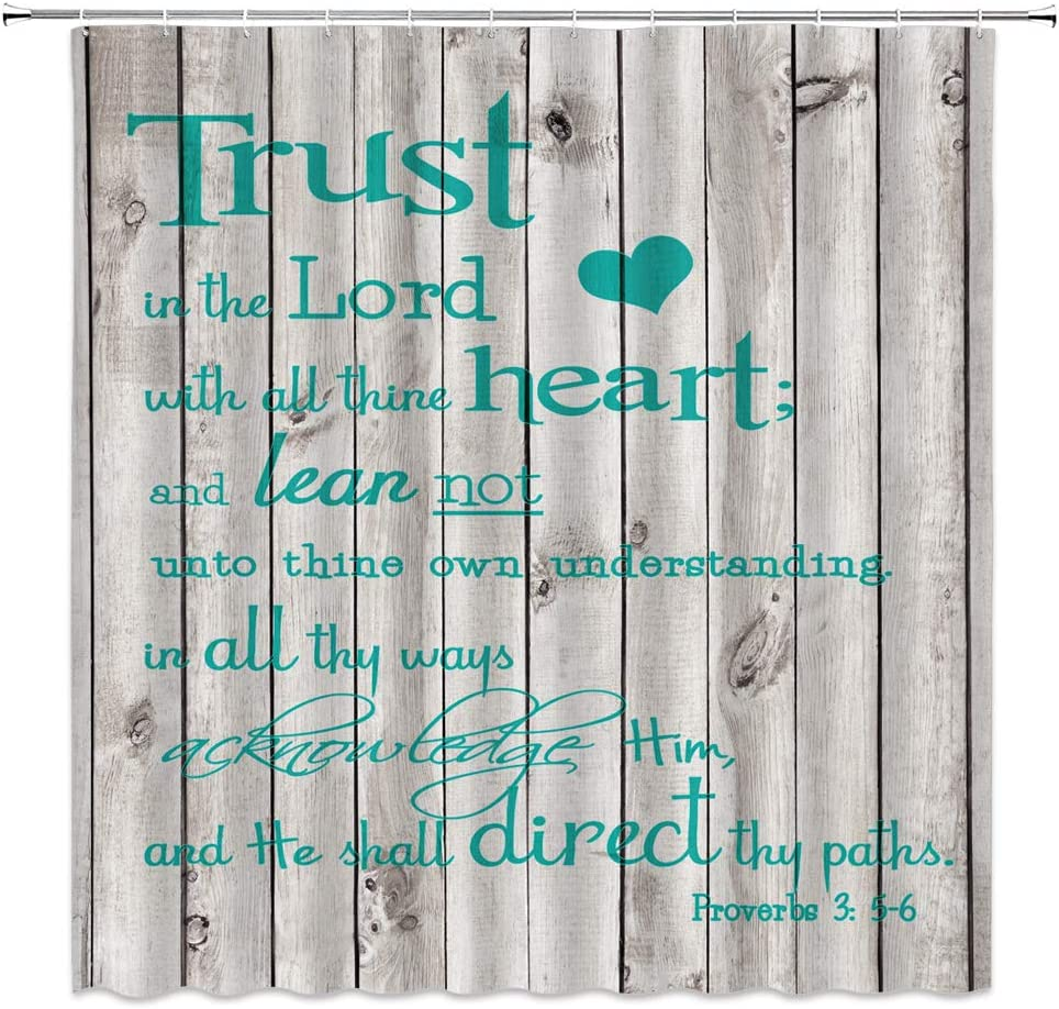 LIVEFUN Inspirational Quote Shower Curtain Trust in The Lord with All Thine Heart Motivational Words on Rustic Vintage Wooden Fabric Bathroom Decor Curtain with 12 Hooks,70x70 Inch,Teal Grey
