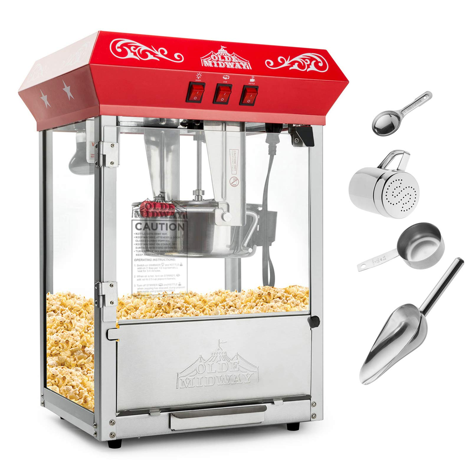 Olde Midway Bar Style Popcorn Machine Maker Popper with 8-Ounce Kettle - Red by Olde Midway