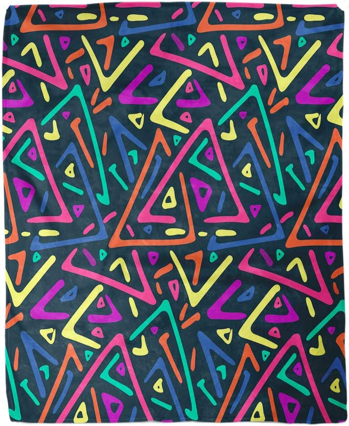 Amazon Com Adowyee 50x60 Inch Soft Decor Throw Blanket African Abstract Colorful Triangles Tribal Shapes Neon Birthday Bright Warm Cozy Flannel Bed Blankets For Home Sofa Couch Chair Living Bedroom Kitchen Dining