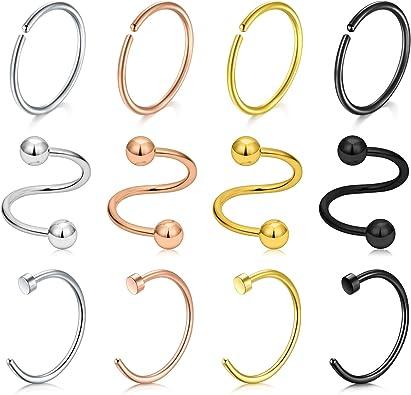 LAURITAMI 12pcs Piercing Labio Aro 0.8mm 8mm Pack Acero Quirurgico Perno Espiral Pendientes C Tipo Anillos Helix Joyas: Amazon.es: Joyería