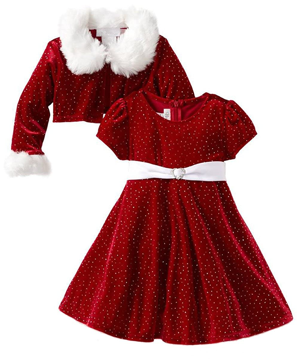 Girls Christmas Dress Sparkle Glitter Dress 2 Pic