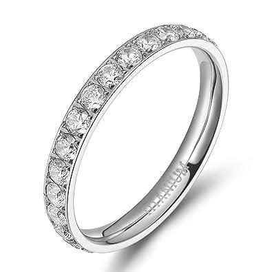 3mm women polished silver eternity titanium rings round shiny cz cubic zirconia inlaid wedding engagement finger - Wedding Rings Amazon