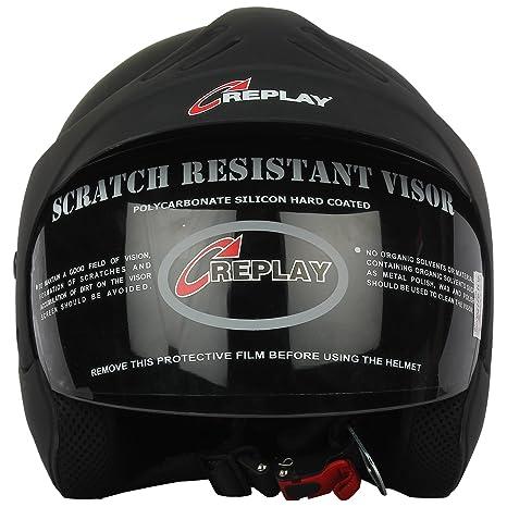 538d7047 Replay Essex Hot Plain Open Face Helmet with Tinted Visor (Matt Black, M):  Amazon.in: Car & Motorbike