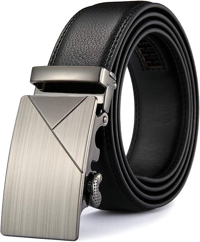 Men Sliding Buckle Ratchet Luxury Leather Mens Male Belt Ceinture Homme