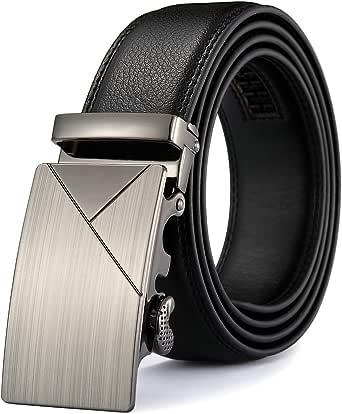 MRACSIY Hombre Pin Hebilla Cinturón de Cuero Genuino