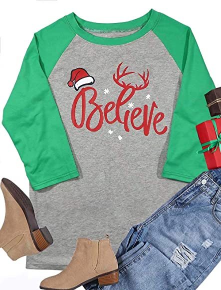 49bf46bd3 Women 3/4 Sleeve Christmas Believe Santa Hat Printed Raglan Baseball T-Shirt  Tops