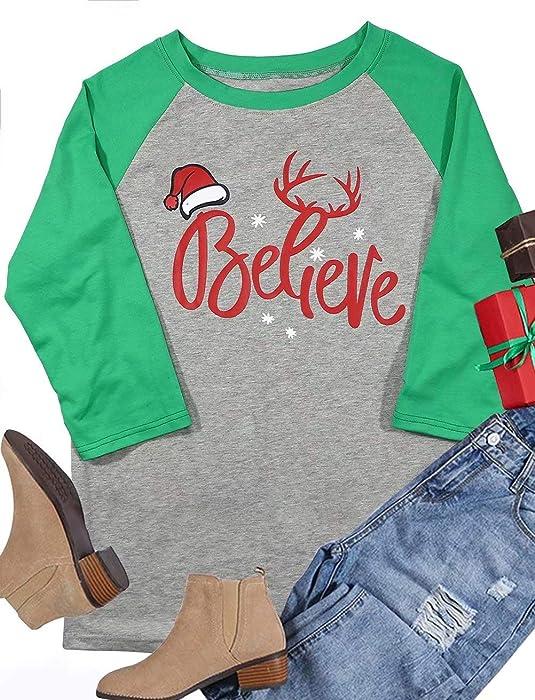 a8f615ee1a198 Women 3 4 Sleeve Christmas Believe Santa Hat Printed Raglan Baseball T-Shirt  Tops