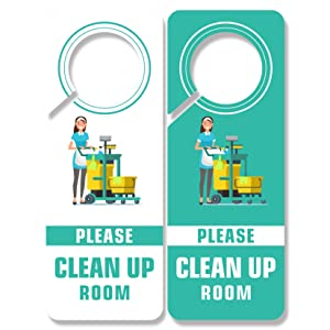 4 Pack Please Clean Up Room Sign, Safety Signal Signs PSLER Deal for Hotel, Office, Clinics, Law Firms Plastic PVC