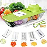 Baban Multi-function Food Slicer, Mandoline Vegetable Slicer with 5 Interchangeable Blades + Food Container + Safety Food Holder + Butting Board + Peeler + Cleaning Brush + Blade Storage Box, Best for Carrot, Cucumber, Potato and so on.