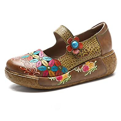 Wedges SandalsWomen's Leather Handmade colorful Flower Vintage Slip-On Shoes Platform Sandals
