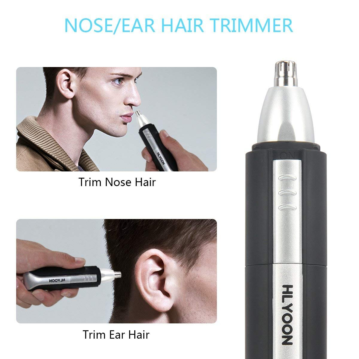 Nose Hair Trimmer - HLYOON Water Resistant Men\'s Ear Hair Clipper, Battery-Operated