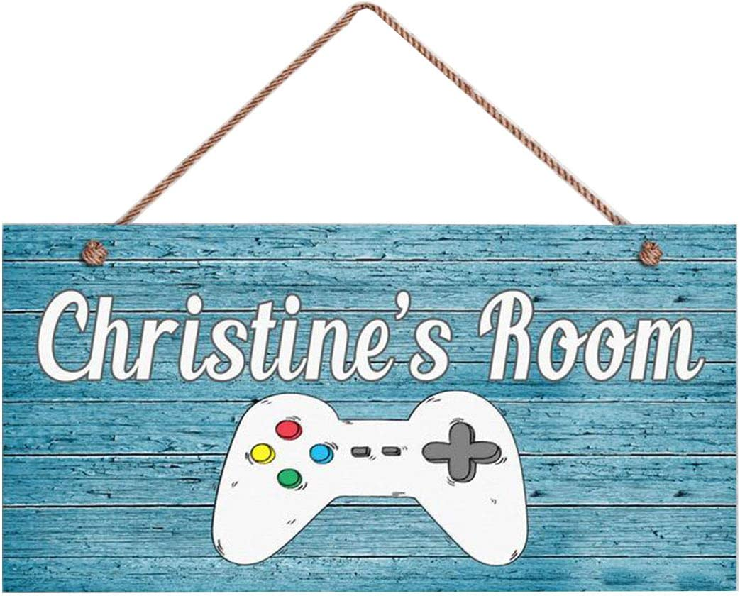 WEIMEILD Gamers Sign Rustic Game Controller Room Sign Personalized Sign 5 x 10 Sign Nursery Art Kids Name Kids Door Sign
