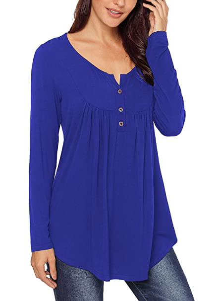 25afbaf5aa74 HOTAPEI Womens T Shirts and Blouses Long Sleeve Tunic Tops Button Down  Tunics Royal Blue Small