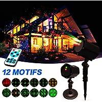 Projecteur Noël,Projecteur d'Ambiance Etanche IP65 avec 12 Motifs,InnooLight Led Lumières Éclairage Décoratif