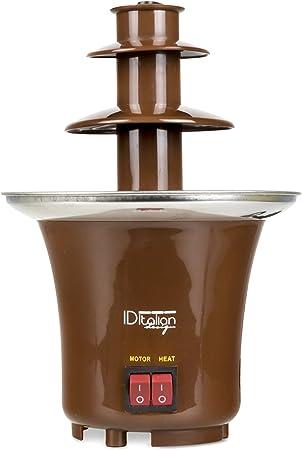 ITALIAN DESIGN  Fuente de Chocolate - Chocolatera Eléctrica de 65W, base de Acero Inoxidable, Marrón.