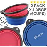 Roysili Extra Large Collapsible Dog Bowl, BPA Free Travel Bowl for Dog Cat Food Water, Foldable Cup Dish Feeder, Portable travel dog bowl for Camping & Hiking