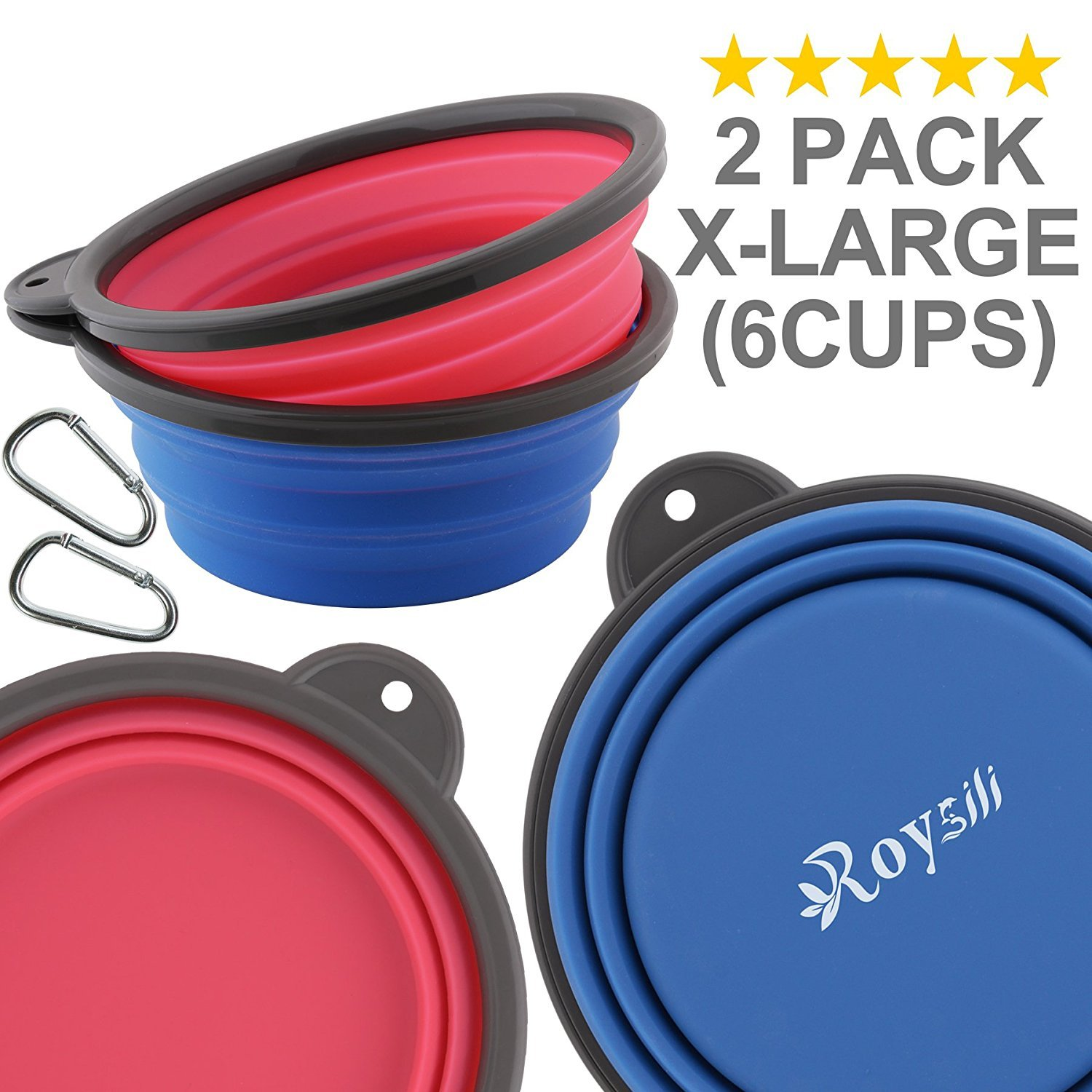 Roysili Extra Large 2Pack Collapsible Water Bowl 6 Cup, Silicone Travel Bowl for Dog Cat Food Water, Foldable Expandable Cup Dish Feeder,Portable Travel Dog Bowl for Camping & Hiking Blue and Pink
