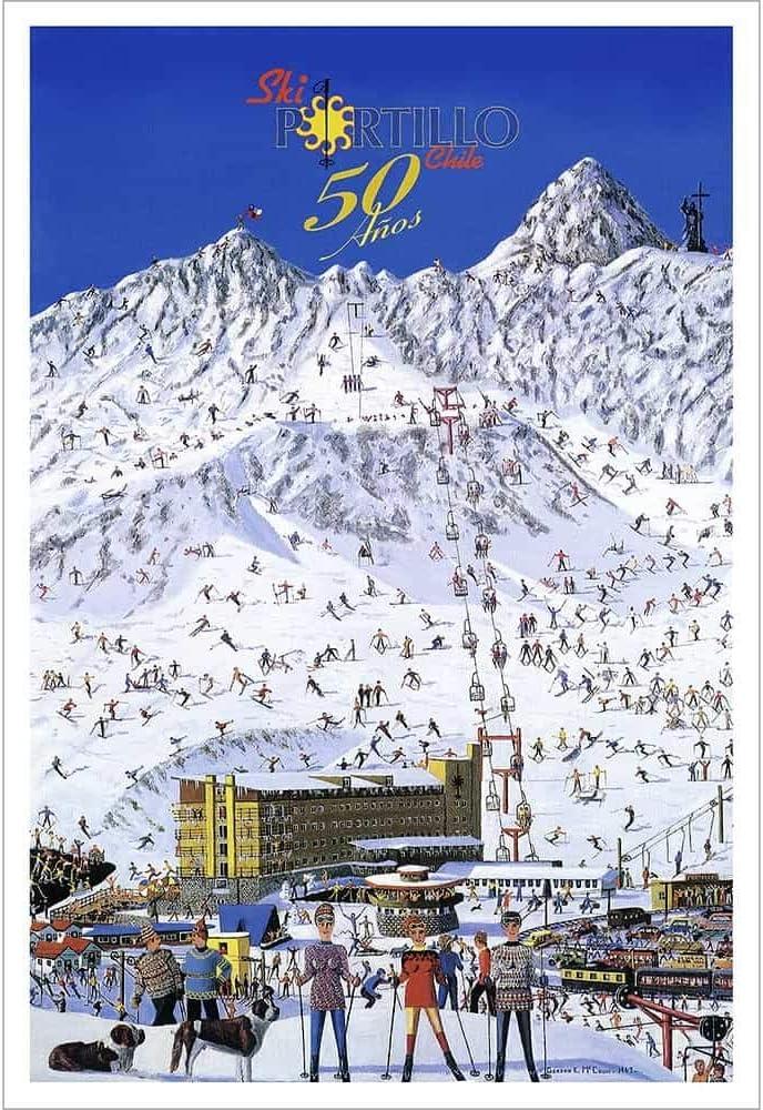 Ski Portillo 50th Anniversary Poster - 20 x 30 inches, Comes in 3 Sizes