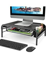 HUANUO HNLM4 Monitor Stand - Mesh Monitor Riser for Desk, Tabletop Printer/Laptop/Computer Stand with Pull Out Storage Drawer and Side Compartment Pocket Pencil Holder-Black