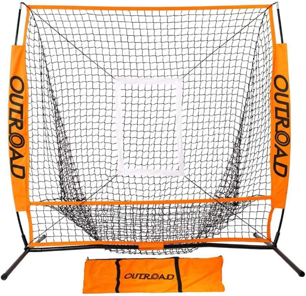 Outroad Portable 5×5 7×7 Baseball Nets for Pitching with Bow Frame and Strike Zone Target, Ball Caddy Holder, Orange