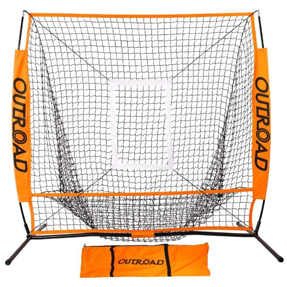 Outroad Baseball Nets Batting and Pitching 5 x 5 - Portable Practice Net with Bow Frame and Strike Zone Target - Portable and Removable Ball Holder Batting Practice with Carry Bag by OUTROAD OUTDOOR CAMPING GARDEN PATIO