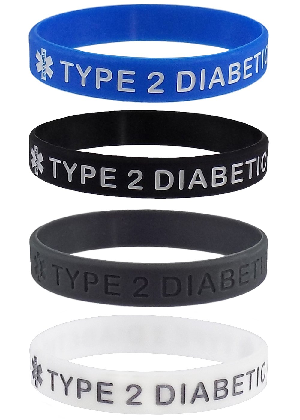 ''TYPE 2 DIABETIC'' Medical Alert ID Silicone Bracelet Wristbands 4 Pack (XL - 8.5 inches)